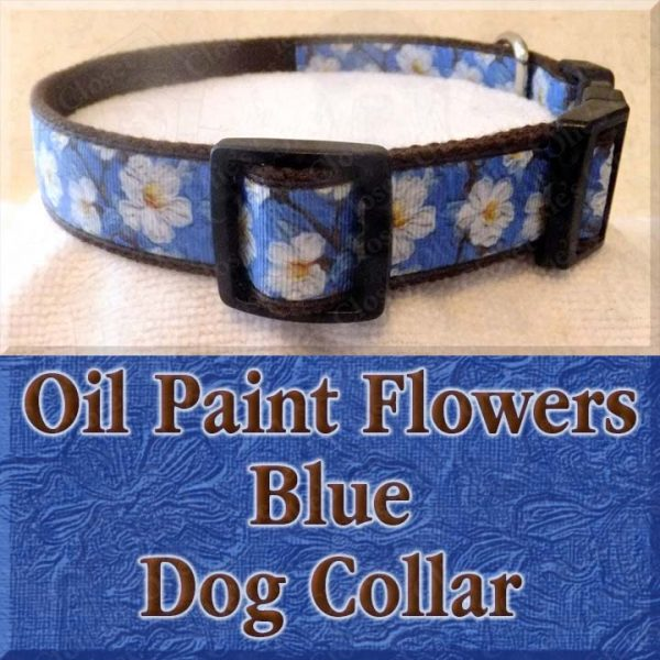 Blue Oil Paint Flowers Designer Dog Collar Product Image No2