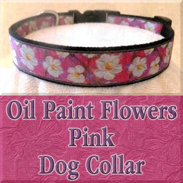 Pink Oil Paint Flowers Designer Dog Collar Product Image No1
