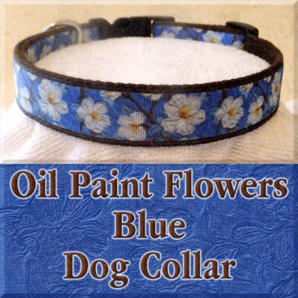 Blue Oil Paint Flowers Designer Dog Collar Product Image No1