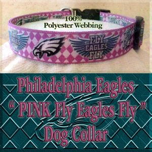 Hot Pink Argyle Philadelphia Eagles Go Green Fly Eagles Fly Polyester Webbing Designer Dog Collar Product Image No6