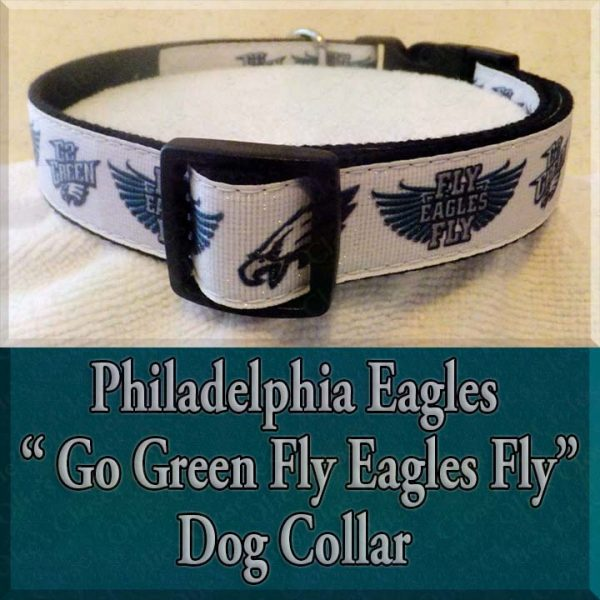 Philadelphia Eagles Glitter Go Green Fly Eagles Fly Designer Dog Collar Product Image No1