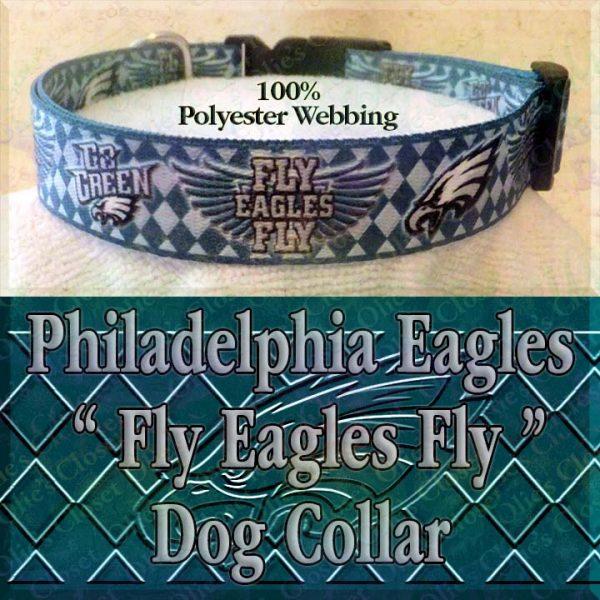 Fly Eagles Fly Go Green Philadelphia Eagles Argyle Polyester Webbing Designer Dog Collar Product Image No1
