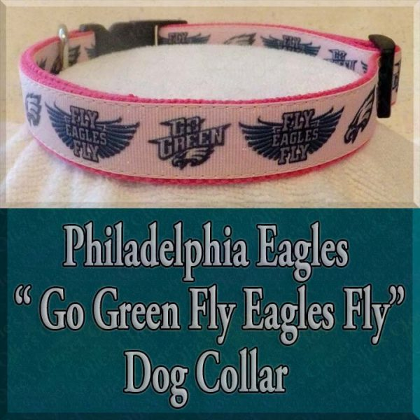 Philadelphia Eagles Glitter Hot Pink Go Green Fly Eagles Fly Designer Dog Collar Product Image No2