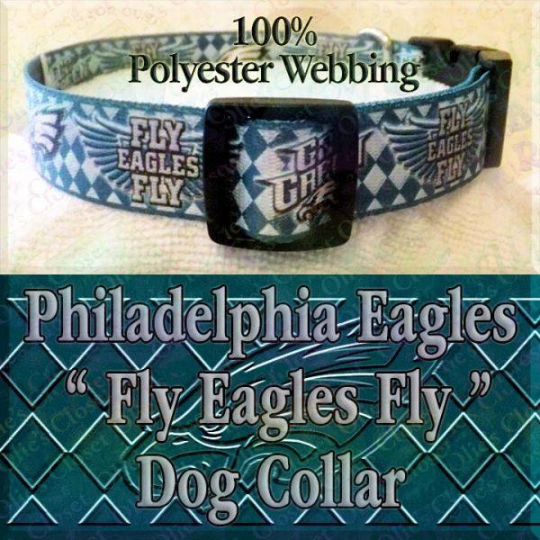 Fly Eagles Fly Go Green Philadelphia Eagles Argyle Polyester Webbing Designer Dog Collar Product Image No3
