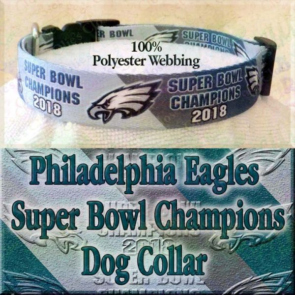 Philadelphia Eagles Super Bowl Champions Diagonal Team Color Stripes Polyester Webbing Designer Dog Collar Product Image No3