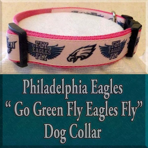 Philadelphia Eagles Glitter Hot Pink Go Green Fly Eagles Fly Designer Dog Collar Product Image No1