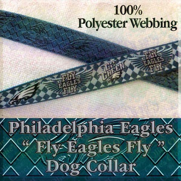 Fly Eagles Fly Go Green Philadelphia Eagles Argyle Polyester Webbing Designer Dog Collar Product Image No2