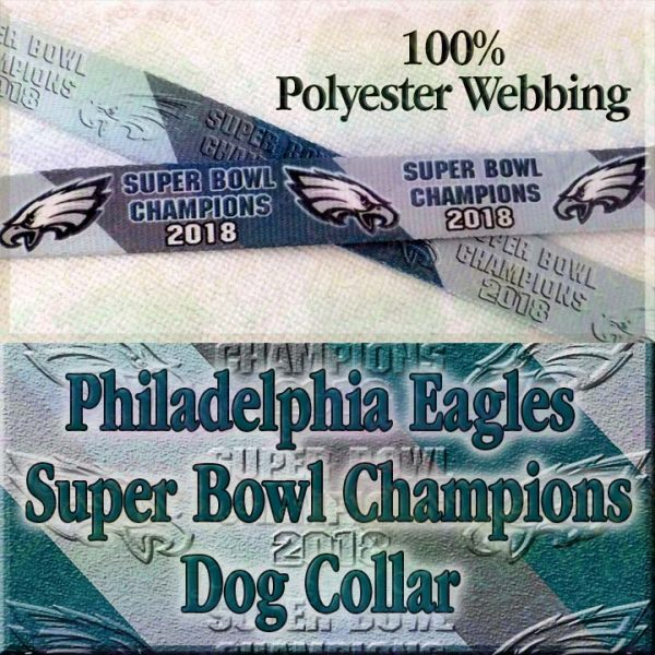 Philadelphia Eagles Super Bowl Champions Diagonal Team Color Stripes Polyester Webbing Designer Dog Collar Product Image No2