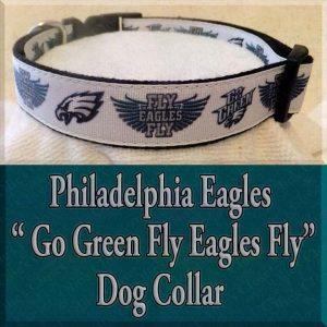Philadelphia Eagles Glitter Go Green Fly Eagles Fly Designer Dog Collar Product Image No2