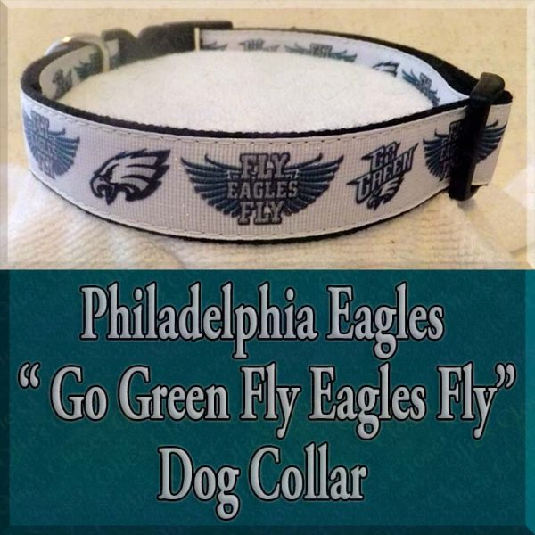 Philadelphia Eagles Glitter Go Green Fly Eagles Fly Designer Dog Collar Product Image No2