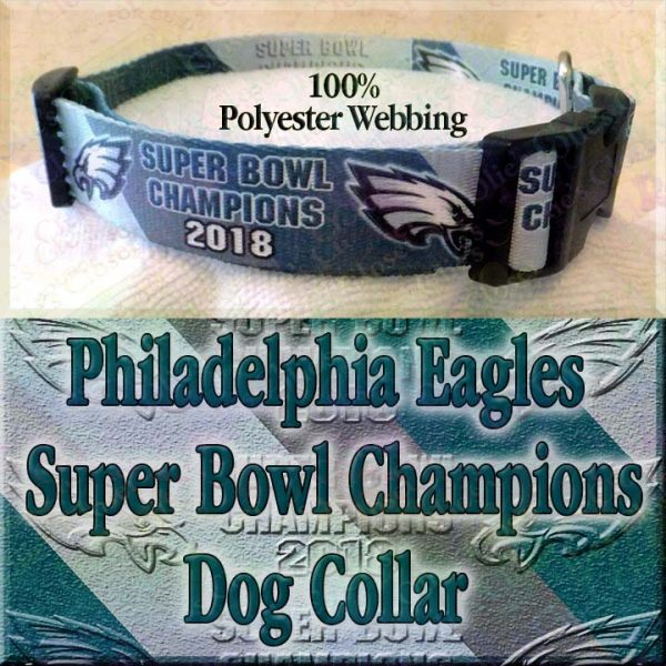 Philadelphia Eagles Super Bowl Champions Diagonal Team Color Stripes Polyester Webbing Designer Dog Collar Product Image No1