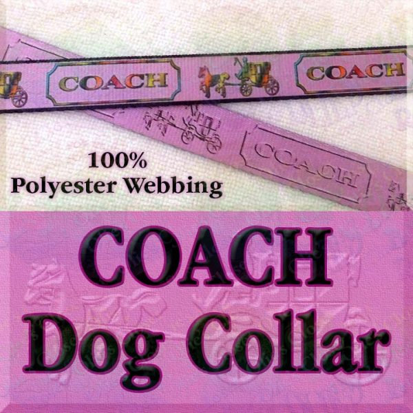 PINK Coach Polyester Webbing Dog Collar Product Image No1