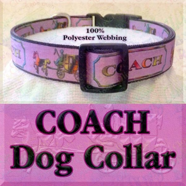 PINK Coach Polyester Webbing Dog Collar Product Image No2