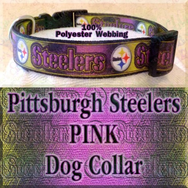 Pink Pittsburgh Steelers Football Polyester Webbing Designer Dog Collar Product Image No1
