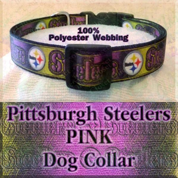Pink Pittsburgh Steelers Football Polyester Webbing Designer Dog Collar Product Image No4