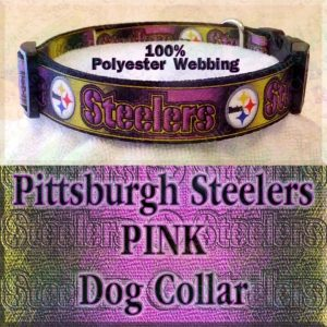 Pink Pittsburgh Steelers Football Polyester Webbing Designer Dog Collar Product Image No3