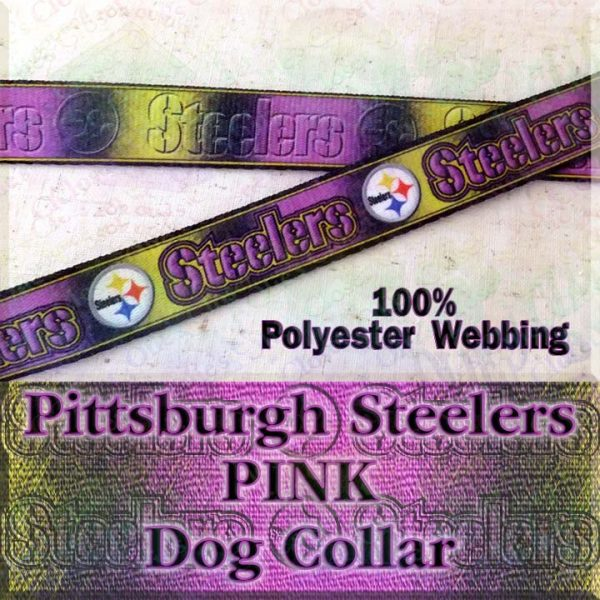 Pink Pittsburgh Steelers Football Polyester Webbing Designer Dog Collar Product Image No2