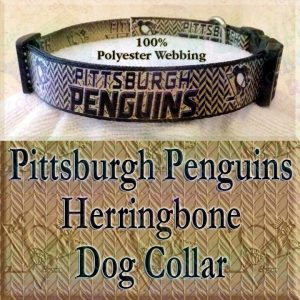 Pittsburgh Penguins Ice Hockey Herringbone Polyester Webbing Designer Dog Collar Product Image No3