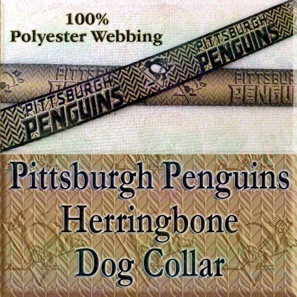 Pittsburgh Penguins Ice Hockey Herringbone Polyester Webbing Designer Dog Collar Product Image No2