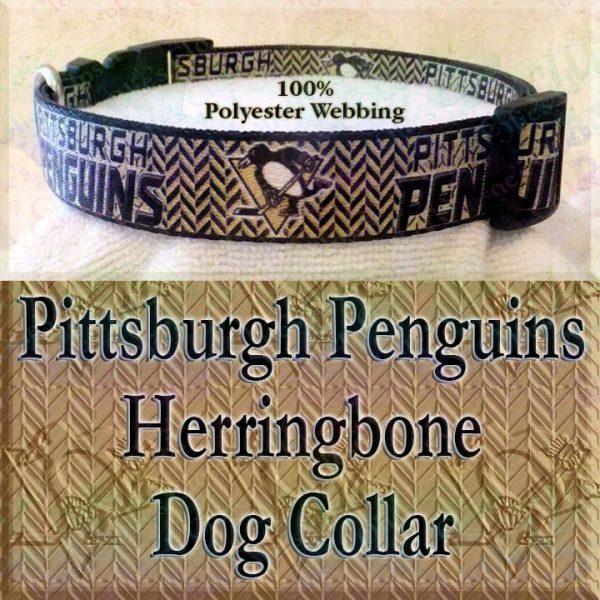 Pittsburgh Penguins Ice Hockey Herringbone Polyester Webbing Designer Dog Collar Product Image No1