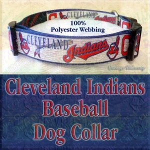 Cleveland Indians Baseball Polyester Webbing Designer Dog Collar Product Image No3