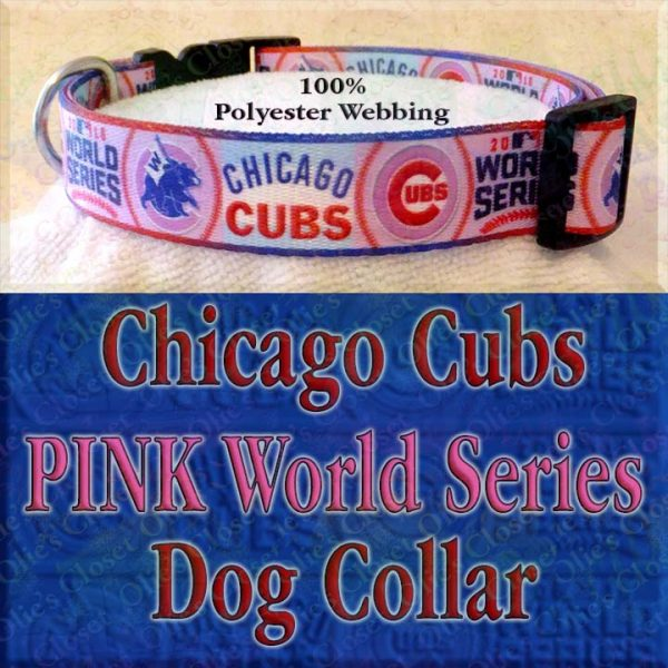Pink Chicago Cubs World Series Champions Win Flag Polyester Webbing Designer Dog Collar Product Image No3