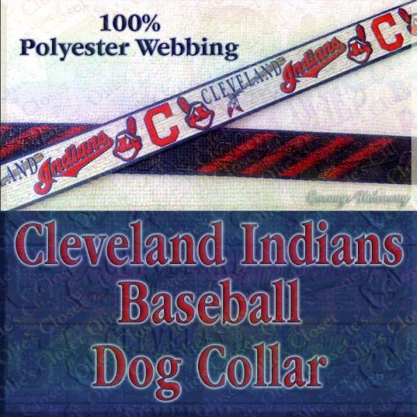 Cleveland Indians Baseball Polyester Webbing Designer Dog Collar Product Image No2