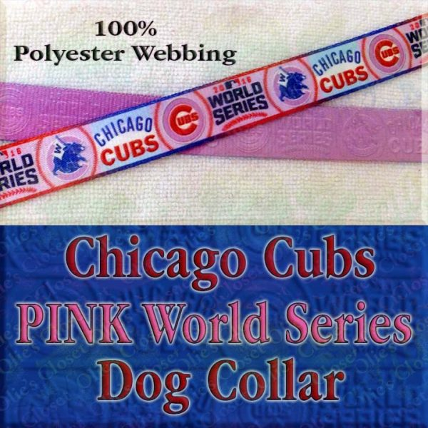 Pink Chicago Cubs World Series Champions Win Flag Polyester Webbing Designer Dog Collar Product Image No2