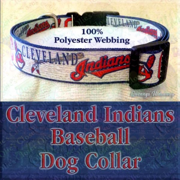 Cleveland Indians Baseball Polyester Webbing Designer Dog Collar Product Image No1
