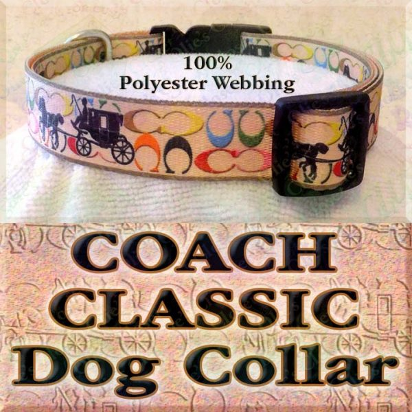 Classic Coach and Carriage Designer Polyester Webbing Dog Collar Product Image No1