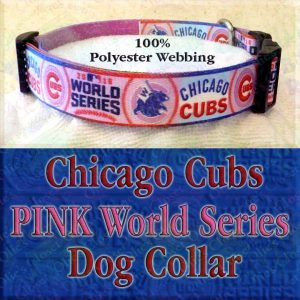 Pink Chicago Cubs World Series Champions Win Flag Polyester Webbing Designer Dog Collar Product Image No1