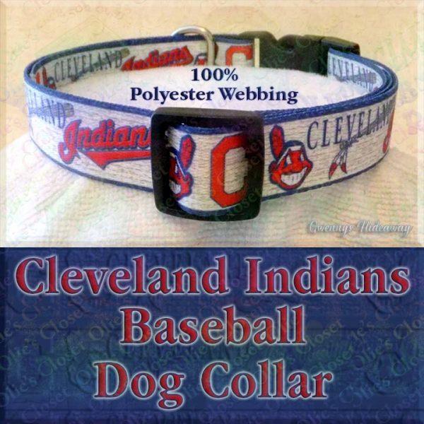 Cleveland Indians Baseball Polyester Webbing Designer Dog Collar Product Image No4