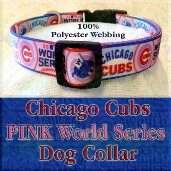 Pink Chicago Cubs World Series Champions Win Flag Polyester Webbing Designer Dog Collar Product Image No4
