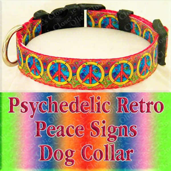 Psychedelic Peace Signs Designer Dog Collar Product Image No1