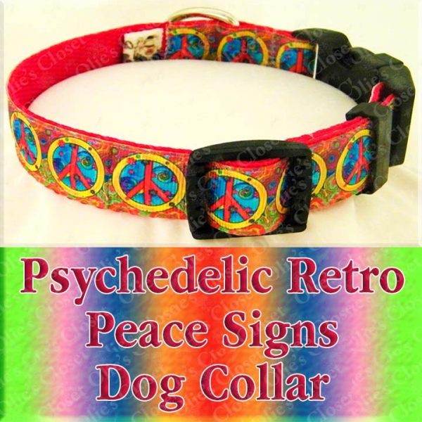Psychedelic Peace Signs Designer Dog Collar Product Image No2