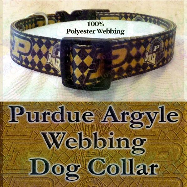 Purdue University Boilermakers Argyle Polyester Webbing Designer Dog Collar Product Image No1