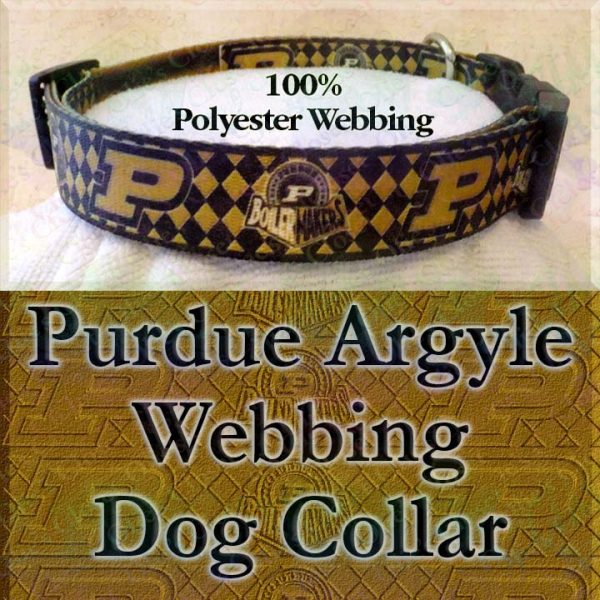 Purdue University Boilermakers Argyle Polyester Webbing Designer Dog Collar Product Image No3