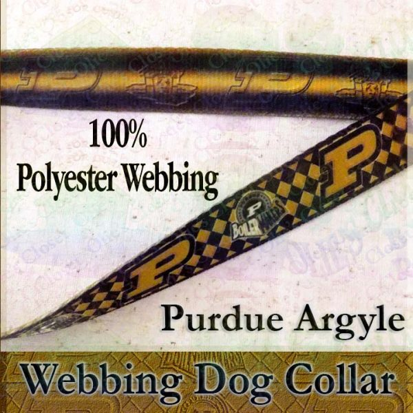 Purdue University Boilermakers Argyle Polyester Webbing Designer Dog Collar Product Image No2