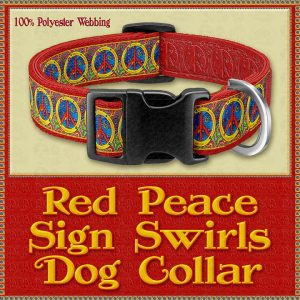 RED Peace Signs Designer Dog Collar Product Image No1