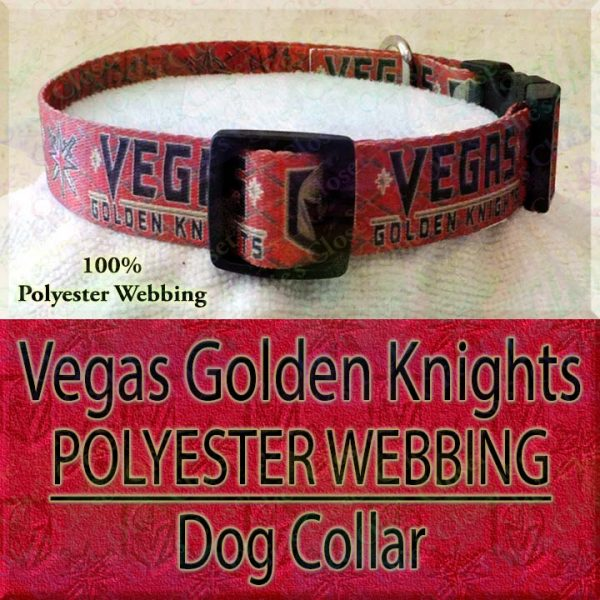 Hot Red Vegas Golden Knights NHL Ice Hockey Polyester Webbing Designer Dog Collar Product Image No2