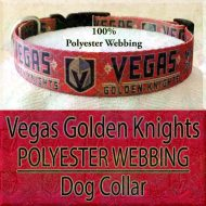 Hot Red Vegas Golden Knights NHL Ice Hockey Polyester Webbing Designer Dog Collar Product Image No3