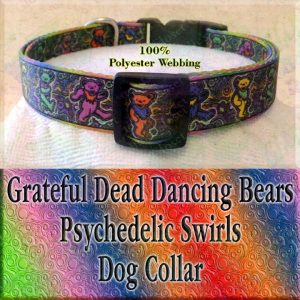 Psychedelic Swirls Grateful Dead Dancing Bears Polyester Webbing Designer Dog Collar Product Image No1