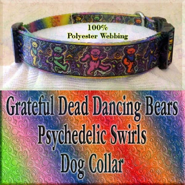 Psychedelic Swirls Grateful Dead Dancing Bears Polyester Webbing Designer Dog Collar Product Image No4