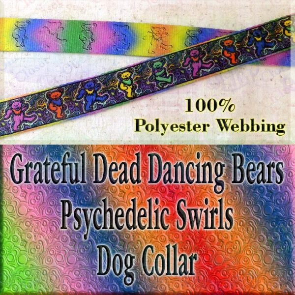 Psychedelic Swirls Grateful Dead Dancing Bears Polyester Webbing Designer Dog Collar Product Image No3