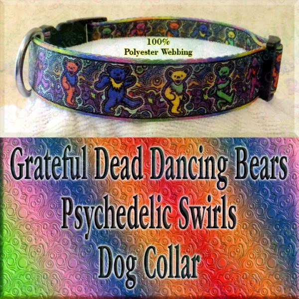 Psychedelic Swirls Grateful Dead Dancing Bears Polyester Webbing Designer Dog Collar Product Image No2