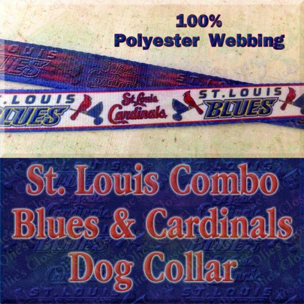 Saint St. Louis Cardinals and Saint St Louis Blues Combo Logo Polyester Webbing Designer Dog Collar Product Image No1