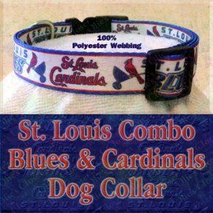 Saint St. Louis Cardinals and Saint St Louis Blues Combo Logo Polyester Webbing Designer Dog Collar Product Image No3