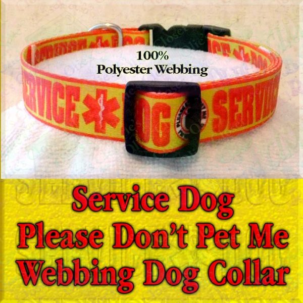 Service Dog Please Don't Pet Me I'm Working Polyester Webbing Designer Dog Collar Product Image No2