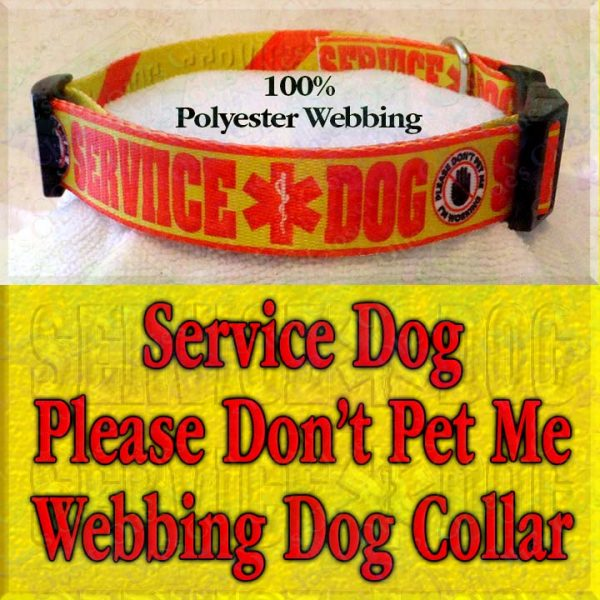 Service Dog Please Don't Pet Me I'm Working Polyester Webbing Designer Dog Collar Product Image No4
