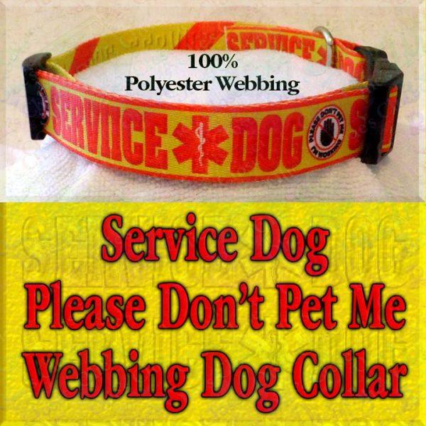 Service Dog Please Don't Pet Me I'm Working Polyester Webbing Designer Dog Collar Product Image No4
